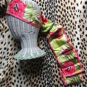 Vintage floral and butterfly head wrap/ scarf